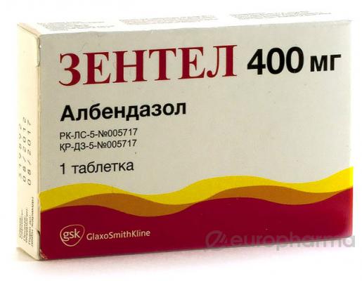 Зентел 400 мг, №1, табл.