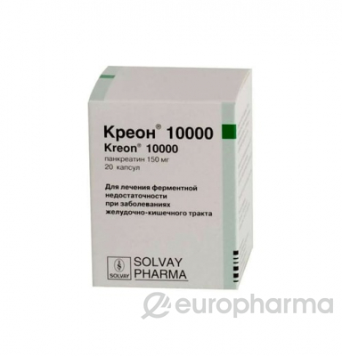 Креон 10 000 (акция 12+1) 150 мг, №20, капс.