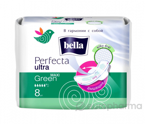 Bella прокладки Perfecta Ultra Maxi Green 8 шт (белая линия)