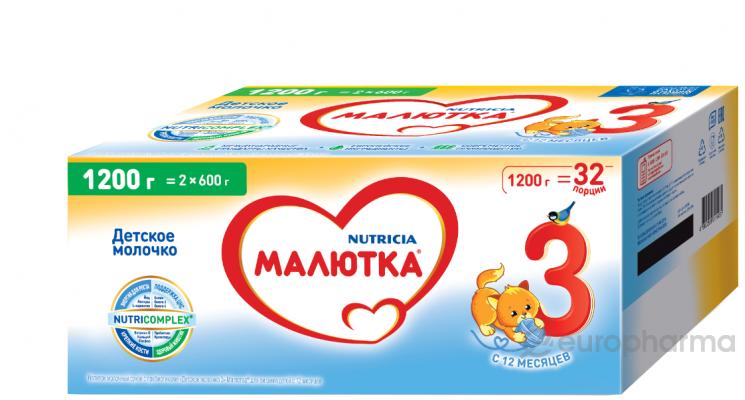 Малютка 3 детское молочко, напиток 5х1200 гр