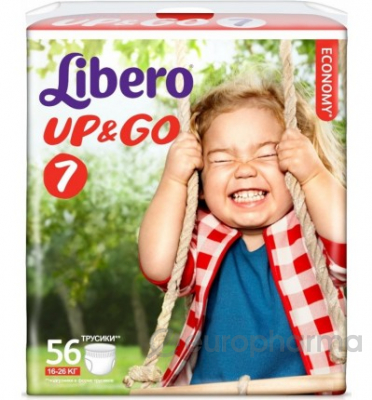 Libero Подгузники NEW Up&Go XL Plus, гига (56) 16-26 (7) (5524)