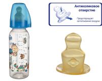 """NIP  бутылочка пластиковая """"Family"""" boy с  соской латекс , размер 2 250мл"""