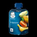 Gerber пюре 4 фрукта для детей с 6 месяцев 90 г