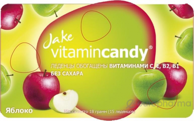 Jake леденцы,мультивитамин В,С,Е со вкусом яблоко №1,коробка