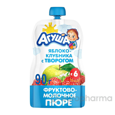 Агуша пюре яблоко-клубника  с творогом детское 90 г