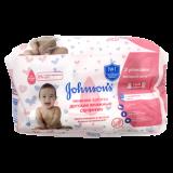 Johnson's baby салфетки нежная забота двойн.упак № 64 шт