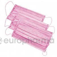 Маска медицинская мед. 3-ч сл.на на резинках деская розовая