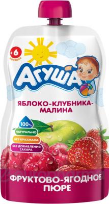 Агуша пюре яблоко-клубника-малина фруктово-ягодное детское 90 г