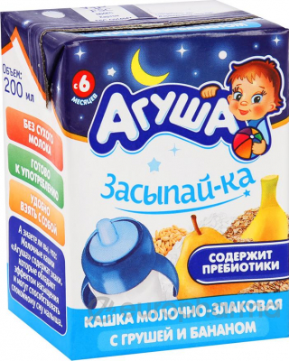 Агуша каша молочная 2,5% 0,2л Злаковая с грушей и бананом