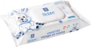 Biolane салфетки очищающие,увлажняющие в мягкой упаковке 64 шт