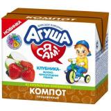 Агуша компот клубника-яблоко-черноплодная рябина для детей с 6 месяцев 200 мл