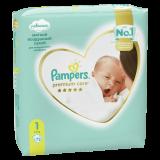 Подгузники Pampers Premium Care, Вес 2–5 кг, Размер 1, 72 шт