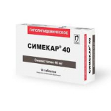 Симекар 40 мг, №28, табл.