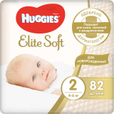 Huggies подгузники Elite Soft 2 (4-6 кг)  82 шт