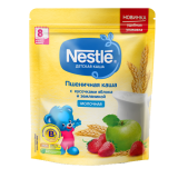 Nestle каша пшеничная с кусочками яблока и земленикой молочная детская 220 гр