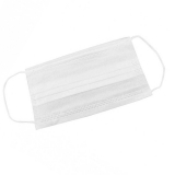 Маска 3-х слойная, одноразовая на резинке белого цвета (артикул 2019)