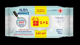 Aura влажные салфетки для поверхностей PRO EXPERT изопропиловый спирт ПРОМО big-pack 60+60шт