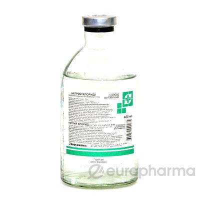 Натрия хлорид 0,9%, 400 мл, фл.