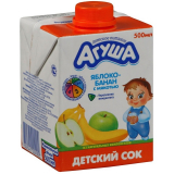 """Сок детский с мякотью """"Агуша"""" 0,5л Яблоко-Банан"""