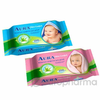 Салфетки влажные AURA  детские Ultra Сomfort №100