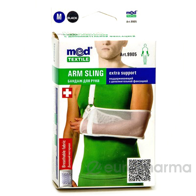 Бандаж для руки поддерживающий с дополнительной фиксацией MedTextile артикул (черный/белый) 9905 M