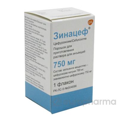 Зинацеф 750 мг № 1 порошок для приготовления раствора для инъекций