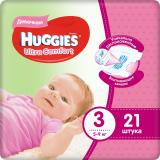 Huggies подгузники Ultra Comfort 3 (5-9 кг) для девочек № 21 шт