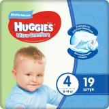 Huggies подгузники Ultra Comfort 4 (8-14кг) для мальчиков № 19 шт