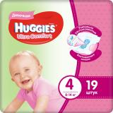 Huggies подгузники Ultra Comfort 4 (8-14кг) для девочек № 19 шт