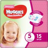 Huggies подгузники Ultra Comfort 5 (12-22 кг) для девочек № 15 шт