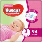 Huggies подгузники Ultra Comfort 3 (5-9 кг) для девочек № 94 шт