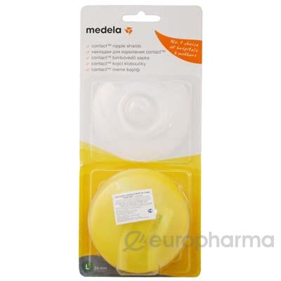 Medela накладки для кормления+контейнер размер L 24 мм