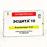Эсцита 10 мг, № 14, табл.