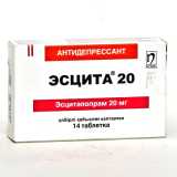 Эсцита 20 мг, № 14, табл.