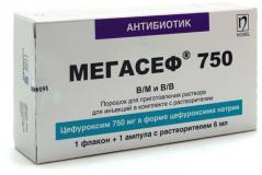 Мегасеф 750 мг, 6 мл, пор.