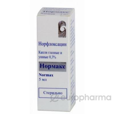 Нормакс (норфлоксацин) 0,3%, 5 мл, гл. ушн. капли
