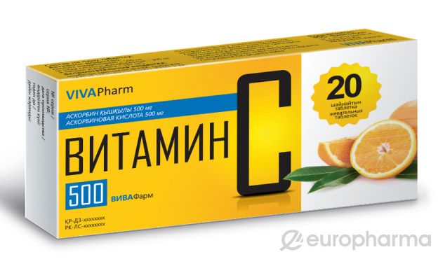 """Витамин С """"Вива Фарм"""" 500 мг, №20, табл."""
