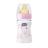 Chicco бутылочка для кормления,латекс розовая Wellbeing Ironic  150 мл 0+