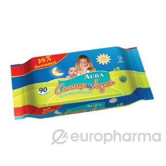 AURA Салфетки влажные детские Солнце+Луна №90